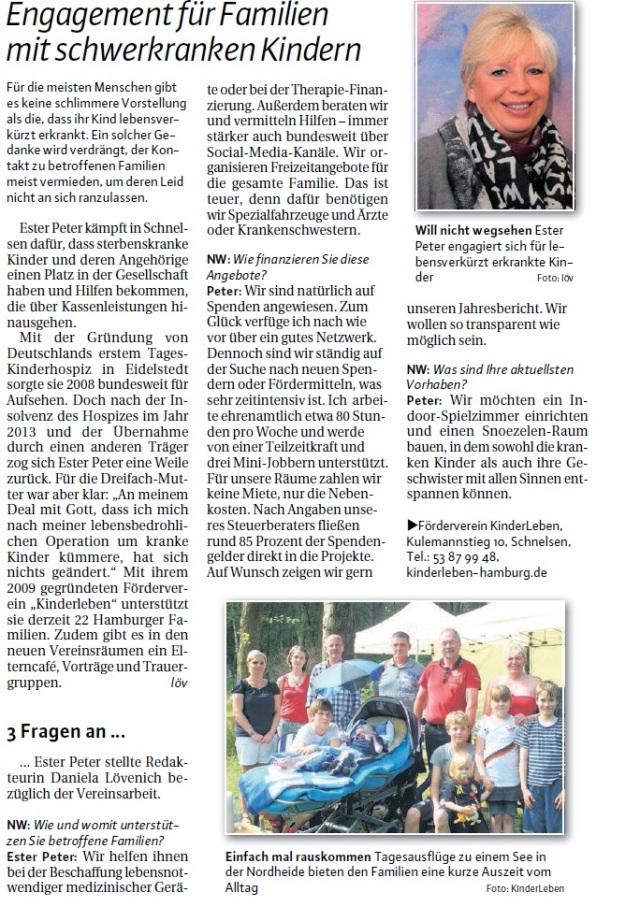 Text sowie Bild Ester Peter: Daniela Lövenich, Niendorfer Wochenblatt